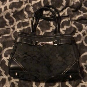 Black Coach Signature canvas/leather handbag